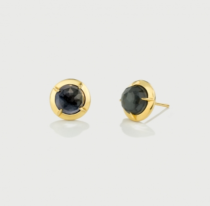 Hematite Doublet Gold Plated Silver Stud Earrings-AlmadiPietra