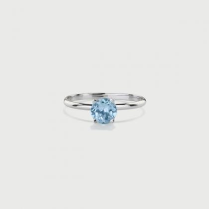 Sky Blue Topaz Ring in 14K White Gold Ring-AlmaDiPietra