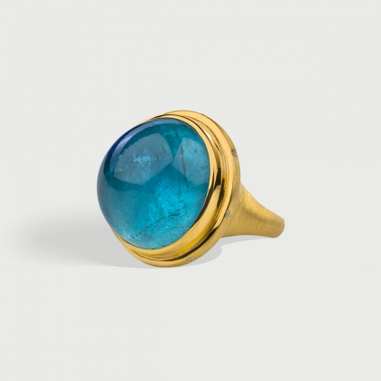Aquamarine ​Cabochon with Diamonds Statement Ring in 18K Yellow Gold-AlmaDiPietra