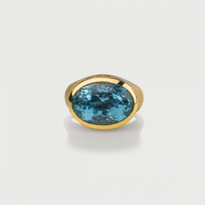 Oval Custom Cut Aquamarine with Diamonds Statement Ring in 18K Yellow Gold-AlmaDiPietra