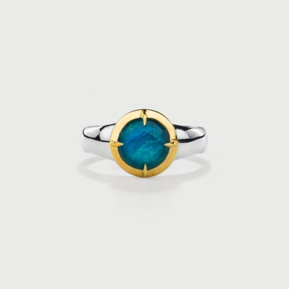 ​Doublet Crystal Quartz with Chrysocolla Gold Plated Silver Ring-AlmaDiPietra