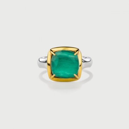 ​Doublet Crystal Quartz with Malachite Gold Plated​ Silver Ring-AlmaDiPietra
