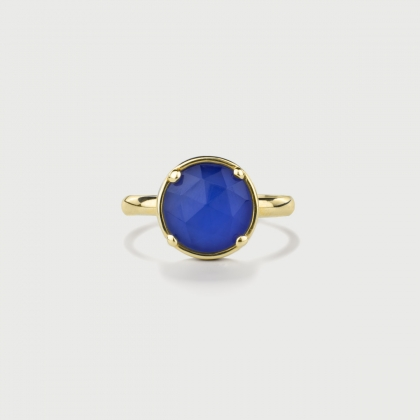 ​Doublet Crystal Quartz with Blue Agate Gold Plated Silver Ring-AlmaDiPietra