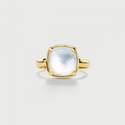 ​Doublet Crystal Quartz with Mother of Pearl Silver Gold Plated Ring-AlmaDiPietra