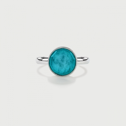 Doublet Crystal Quartz with Amazonite Silver Ring-AlmaDiPietra