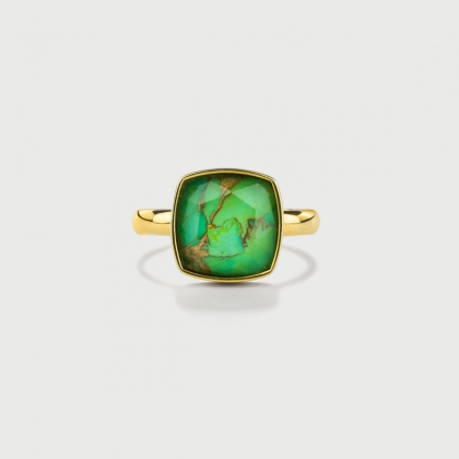 Doublet Crystal Quartz with Green Copper Gold Plated Silver Ring-AlmaDiPietra