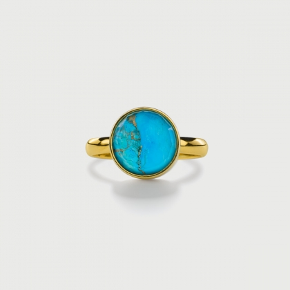 ​Doublet Crystal Quartz with Turquoise Copper Silver Gold Plated Ring-AlmaDiPietra