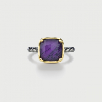 ​Doublet Crystal Quartz with Sugilite Silver Ring-AlmaDiPietra