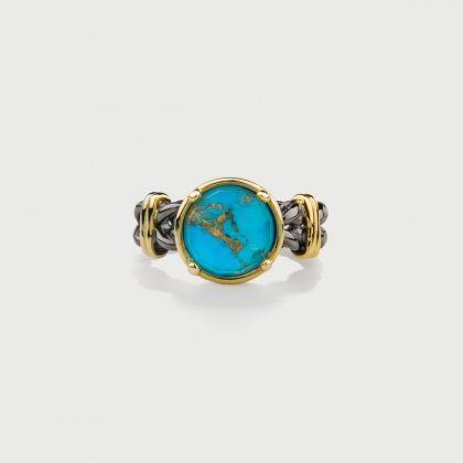​Doublet Crystal Quartz with Turquoise Copper Silver Ring-AlmaDiPietra