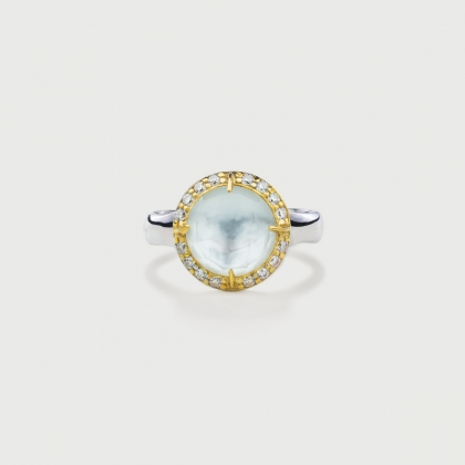 ​Doublet Crystal Quartz with Mother of Pearl and White Zircons Silver Gold Plated Ring-AlmaDiPietra
