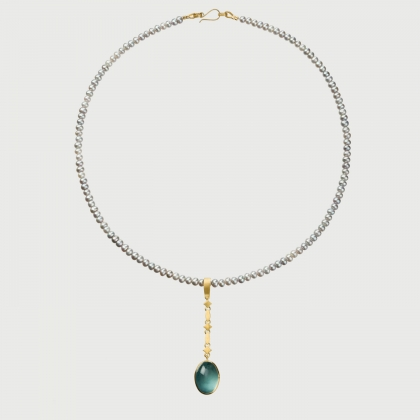​Pearls Necklace with ​Aquamarine Cabochon in 18K Yellow Gold Pendant-AlmaDiPietra