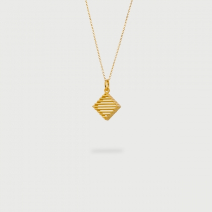 "​​""Rhombus Checkered"" 14K Gold Pendant of ""Linned Drops"" Collection​​-AlmaDiPietra"