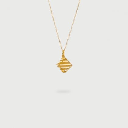 "​""Rhombus Minimal"" 14K Gold Pendant of ""Linned Drops"" Collection​-AlmaDiPietra"