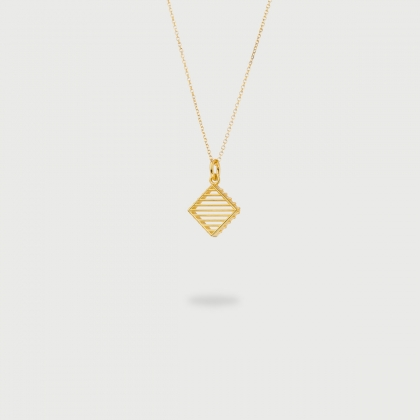 "​​""Rhombus Stitched"" 14K Gold Pendant of ""Linned Drops"" Collection​​-AlmaDiPietra"