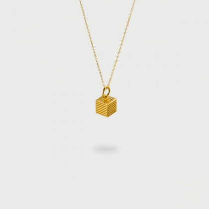 "​​""Cube"" 14K Gold Pendant of ""Linned Drops"" Collection​-AlmaDiPietra"
