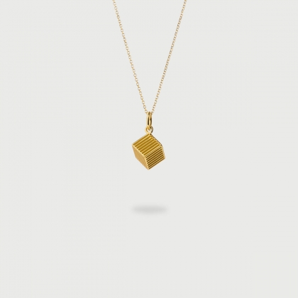 """Vertical Cube""​ 14K Gold Pendant of ""Linned Drops"" Collection​-AlmaDiPietra"