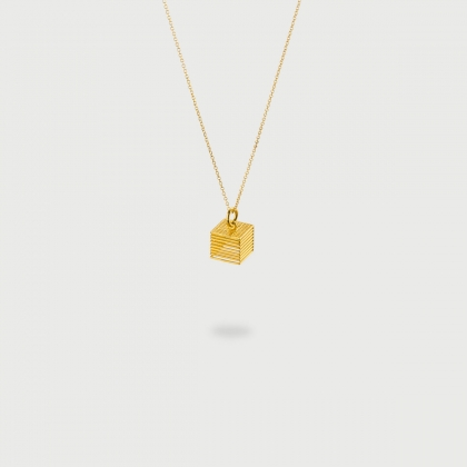 "​​""Open Checkered"" 14K Gold Pendant of ""Linned Drops"" Collection​-AlmaDiPietra"