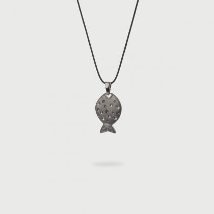 Black Rhodium Plated Silver Fish Pendant-AlmaDiPietra