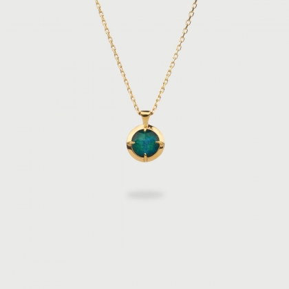 Doublet Crystal Quartz with Chrysocolla Silver Gold Plated Pendant-AlmaDiPietra