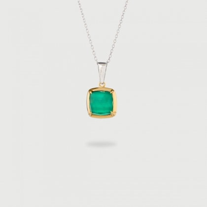 Doublet Crystal Quartz with Malachite Gold Plated Silver Pendant-AlmaDiPietra