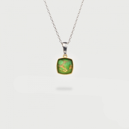 Doublet Crystal Quartz Pendant with Green Copper Gold Plated Silver Pendant-AlmaDiPietra
