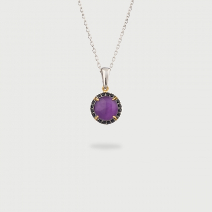 Doublet Crystal Quartz with Amethyst and Black Zircons Gold Plated Silver Pendant-AlmaDiPietra
