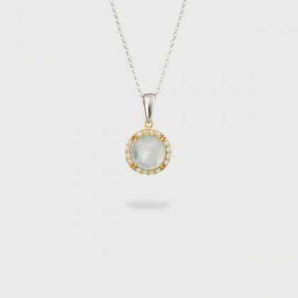 Doublet Crystal Quartz with Mother of Pearl and White Zircons Gold Plated Silver Pendant-AlmaDiPietra