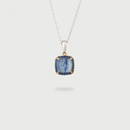 Doublet Crystal Quartz with Kyanite and blue Zircons Gold Plated Silver Pendant-AlmaDiPietra