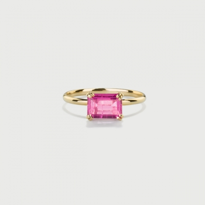 Pink Tourmaline Ring in 14K Yellow Gold-AlmaDiPietra