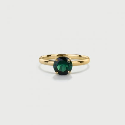 ​Deep Green Tourmaline Ring in 14K Yellow Gold-AlmaDiPietra