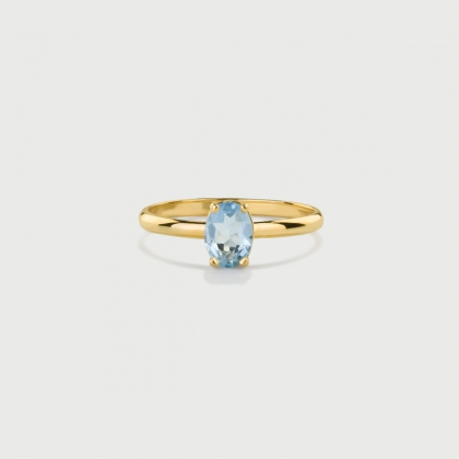 Natural Oval-Cut Aquamarine Ring in 14K Yellow Gold-AlmaDiPietra