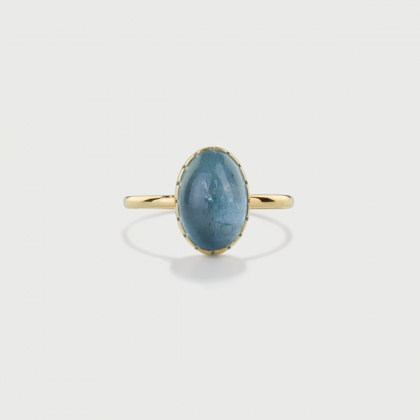 Natural Cabochon Aquamarine Ring in 14K Yellow Gold-AlmaDiPietra