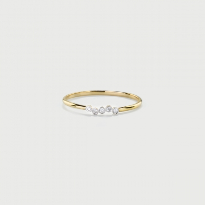Diamonds Wave Stackable Ring in 14K Yellow Gold-AlmaDiPietra