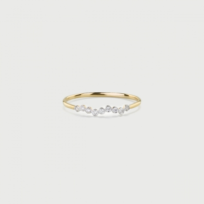 Diamonds Long-Wave Stackable Ring in 14K Yellow Gold-AlmaDiPietra
