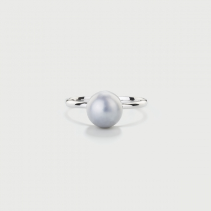 Freshwater Grey Pearl Ring in 14K White Gold-AlmaDiPietra