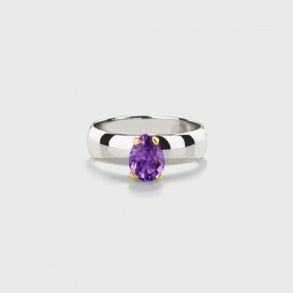 Amethyst on 14K Gold Head and Polished Silver 925 Band Ring-AlmaDiPietra