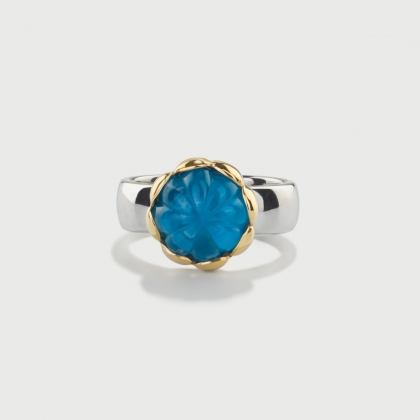 Doublet Crystal Quartz with Apatite on 14K Yellow Gold and Silver 925 Ring-AlmaDiPietra