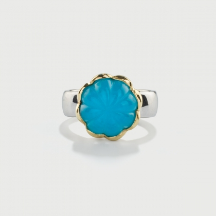Doublet Crystal Quartz with Turquoise on 14K Yellow Gold and Silver 925 Ring-AlmaDiPietra