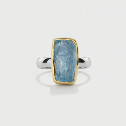 Natural Rough Aquamarine Ring​ in 14K Gold and Silver 925, Rectangle Statement Ring-AlmaDiPietra
