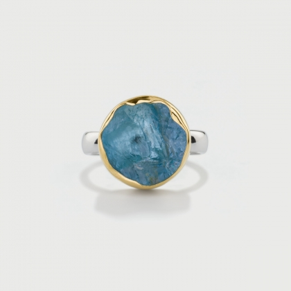 Natural Rough Aquamarine Ring in 14K Gold and Silver 925, Round Statement Ring-AlmaDiPietra