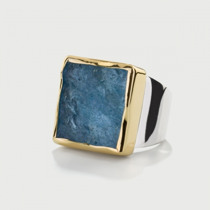 Natural Rough Aquamarine Ring in 14K Gold and Silver 925, Square Statement Ring-AlmaDiPietra