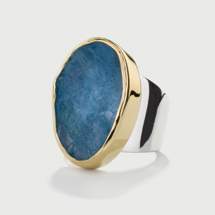 Natural Rough Aquamarine Ring in 14K Gold and Silver 925, Oval Statement Ring-AlmaDiPietra