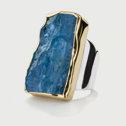 Natural Rough Aquamarine Ring in 14K Gold and Silver 925, Rectangle Statement Ring-AlmaDiPietra