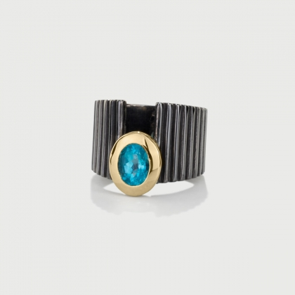 Apatite Ring in 14K Yellow Gold and Silver 925-AlmaDiPietra