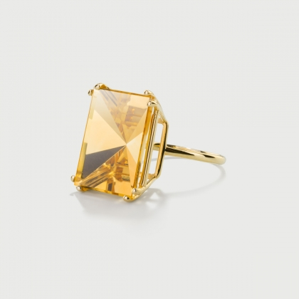 Mirror-Cut Citrine Ring in 14K Yellow Gold-AlmaDiPietra