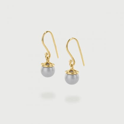 Freshwater ​Pearl Drop Earrings in 14K Gold-AlmaDiPietra