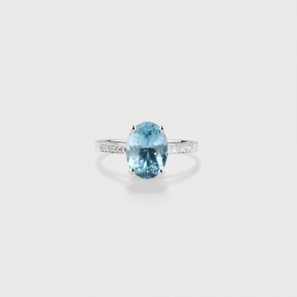 Natural Aquamarine and Diamonds Ring in 18K White Gold-AlmaDiPietra