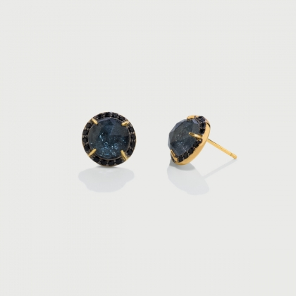 Doublet Crystal Quartz with Hematite USA and black Zircons Gold Plated Silver stud Earrings-AlmaDiPietra
