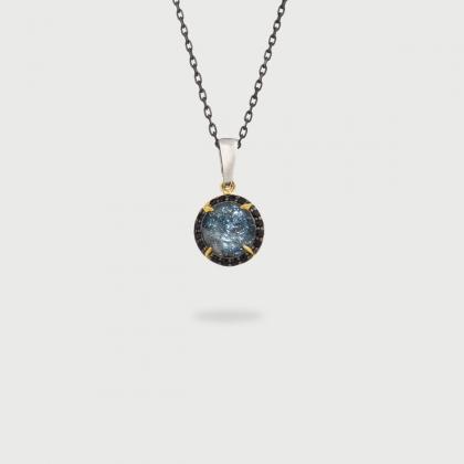 Doublet Crystal Quartz with Hematite USA and Black Zircons Silver Pendant-AlmaDiPietra
