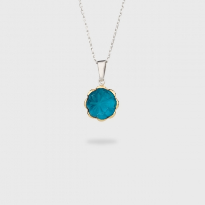 Doublet Crystal Quartz with Apatite on 14K Yellow Gold and Silver 925 Pendant-AlmaDiPietra
